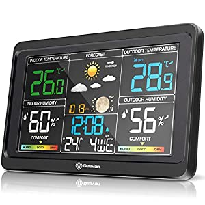 Geevon Wireless Weather Station Indoor Outdoor Thermometer Hygrometer, Digital Temperature Humidity Monitor with Color LCD Display, USB Charging Port, Alarm Clock, 3-Level Backlight Patio, Lawn and Garden