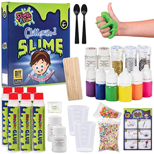 Unicorn Slime Kit Glitterized | Ultimate Slime Kit | Slime Kits with Everything for Unicorn, Floam, Cloud Styles, Science, DIY and Art Play with Water Cleanup