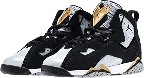 Jordan Kids True Flight BP Black Black Wolf Gry Mtlc Gold Size 11