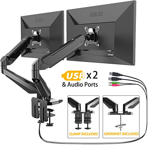 Dual Monitor Stand - FEZIBO Adjustable Full Motion Monitor Mount, C Clamp and Grommet Mount for 2 Screens from 17 to 29 inches Gas Spring LCD Computer Screens (Best Way To Clean Lcd Computer Monitor)