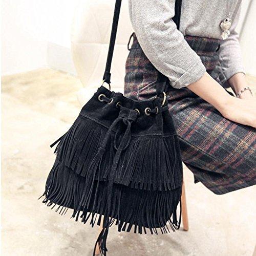 JD Million shop (Black) Retro Faux Suede Fringe Women Bag Messenger Bags New Handbag Tassel Shoulder Handbags Crossbody Bag bolsa feminina 2017 (Diaper Gift Certificates)