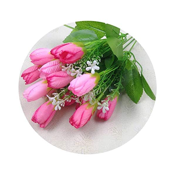 1pc 15 Heads Tulip Fake Artificial Flower Bouquet Real Touch Silk Tulip Flowers Party Valentine's Day Wedding Home Decoration,Pink