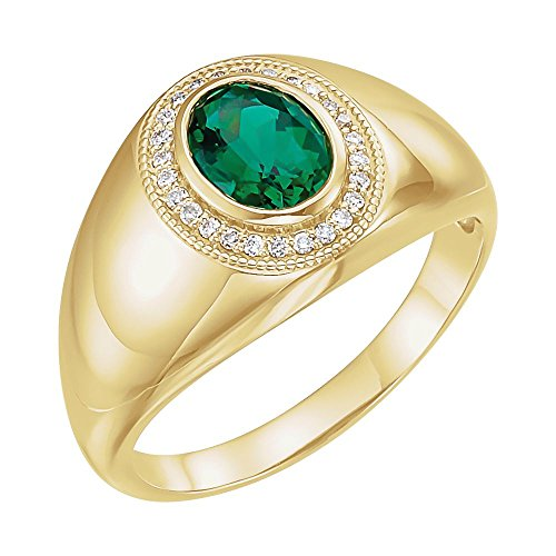 Bonyak Jewelry Lab-Created Emerald 14k Yellow Gold Men's Chatham Created Emerald & Diamond Accented Ring - Size 11 ()