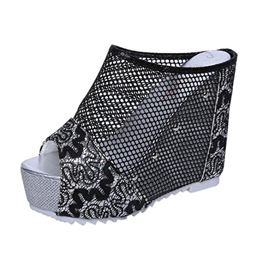 Heel High News - Hot Sale! ❤️ Women's Sandals, Neartime Summer Fashion Flip Flops Hollow Wedge High Heel Shoes Ladies Mesh Party Sandals (❤️US5.5, Black)