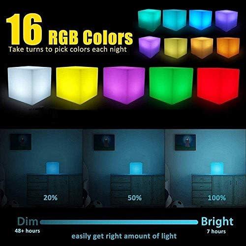 Ygetas Lumineux Cube LED Mood Light Tabouret extérieur étanche Rechargeable Chaise Lumineuse Siège Garden Party Bar Pied Fun Lampe Banc avec télécommande (Taille : 40 * 40 * 40cm)