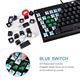 Mechanical Keyboard with Blue Switches, RGB Backlit 87-key Anti-Ghost Gaming Keyboard - Non-Fading UV Coating for Professional Responsiveness