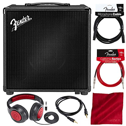 Fender Rumble Studio 40 Electric Bass Guitar Combo Digital Modeling Amplifier with Headphones & Assorted Cables Bundle ()