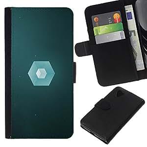 NEECELL GIFT forCITY // Billetera de cuero Caso Cubierta de protección Carcasa / Leather Wallet Case for LG Nexus 5 D820 D821 // Polígono Cube