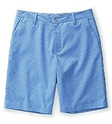 Ashworth Mens Ez-Tec2 Mini Check Flat Front Shorts 38 38.0 Pebble/Palace Blue