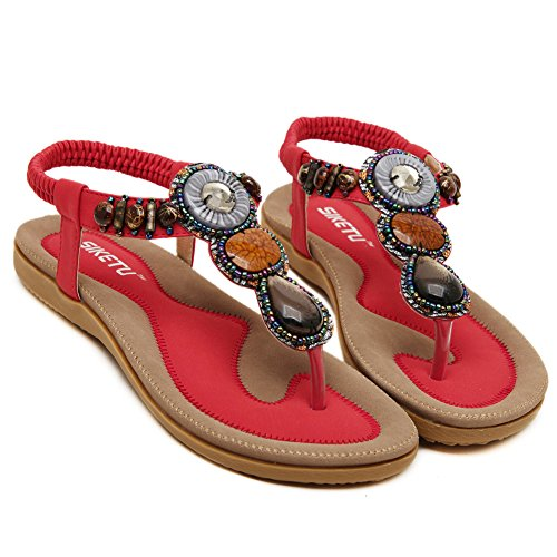 Fortuning's JDS 2016 New arrival women's bohemia Flip-flop shoes flat sandals Red U7THHEmFzJ