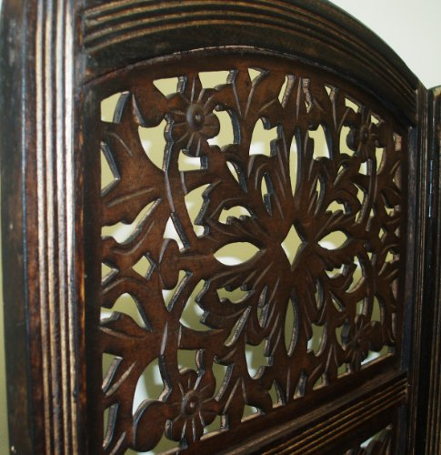 Amazon.com: Rajasthan Antique Brown 4 Panel Handcrafted Wood Room Divider  Screen 72x80, Intricately carved on both sides making it fully reversible,  ... - Amazon.com: Rajasthan Antique Brown 4 Panel Handcrafted Wood Room