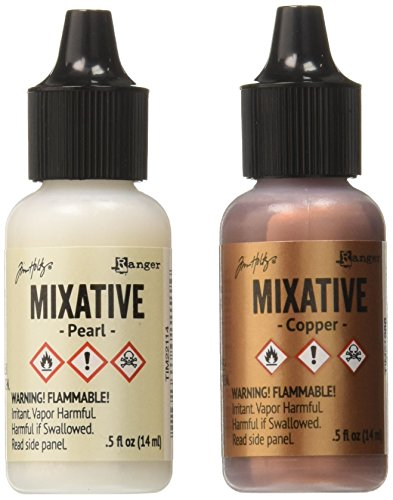 Ranger TIM21254 Adirondack Alcohol Ink Metallic Mixatives, 1/2-Ounce, 2-Pack, Pearl and Copper by Ranger