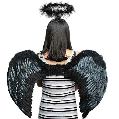 Woman In Labour Halloween Costume (Halloween & Christmas Dark Angel Dress Up Feather Wings with Head Ring(XL))