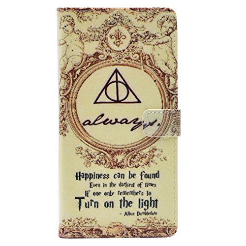 Galaxy J7 V Case,J7 Sky Pro Case,J7 Perx/J7 Prime/J7 Sky Pro/Galaxy Halo Case, Deathly Hallows Always Quotes Pattern Leather Wallet Folio Flip Shell Cover with Card Slot for Samsung Galaxy J7 2017
