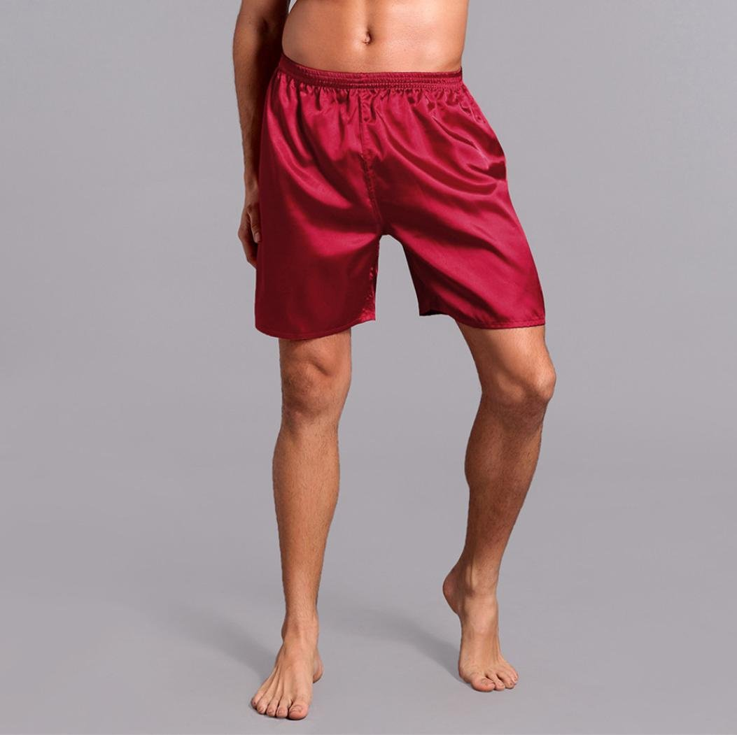 Pervobs Men Shorts Men's Shorts Silk Satin Pajama Sleepwear Homewear Robes Shorts Loungewear Underwear (XL, Red) by Pervobs Men Shorts (Image #2)