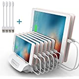 8 Ports USB Charging Station for Multiple Devices, iForway 72W Desktop Multiport Quick Charger Compatible with Apple iPhone iPad Samsung Cell Phone Tablets