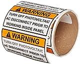 Hellermann Tyton 596-00499 Solar Label, Warning - Turn Off PV Label, 4.12'' X 2.0'', Vinyl, Orange/White  (Pack of 50)