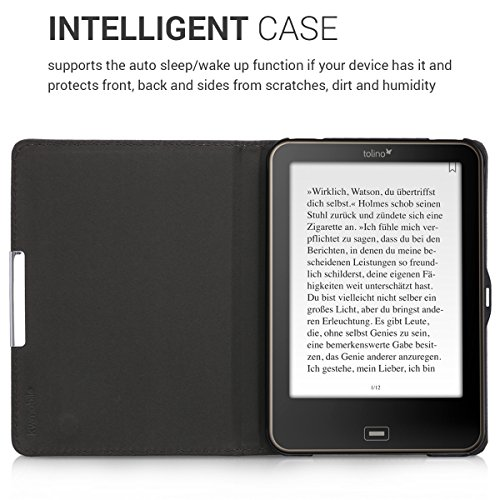 kwmobile Case for Tolino Vision 1/2 / 3/4 HD - Book Style PU Leather Protective e-Reader Cover Folio Case - dark blue yellow red by kwmobile (Image #4)