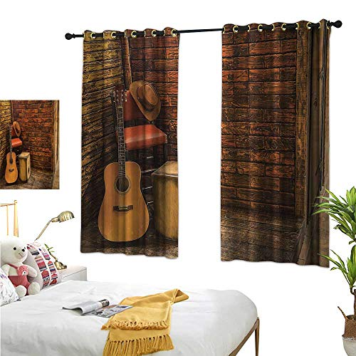 Warm Family Backdrop Curtain Music,Music Instruments on Wooden Stage in Pub Beverage Cafe Counter Bar,Dark Orange Amber Sand Brown 84