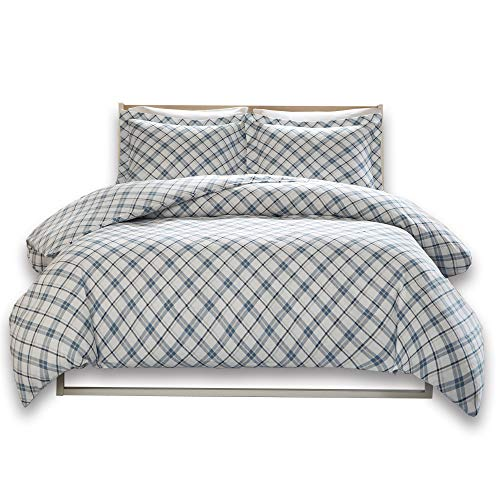 Comfort Spaces - Ultra Soft 100% Cotton Plaid Flannel Mini Duvet Cover Set - 3 Piece - Blue - King Size, Includes 1 Duvet Cover, 2 Shams (Duvet Cover Plaid Blue Flannel)
