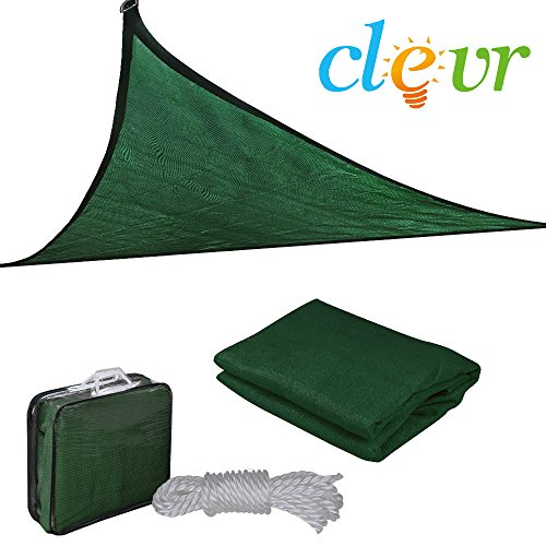 Clevr 12'x12'x12' Premium UV Triangle Sun Shade Canopy Sail Outdoor Garden Patios & Playgrounds, Green - Includes Storage Bag