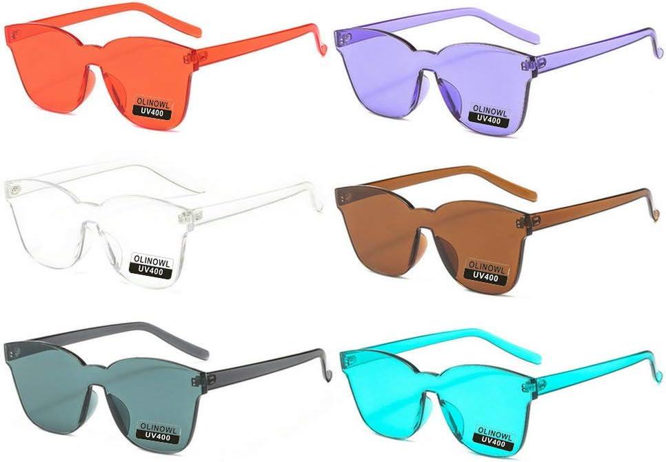 نظارات شمسية من OLINOWL كبيرة الحجم مربعة بدون إطار ملونة للجنسين النساء الرجال قطعة واحدة نظارات شفافة نظارات ريترو