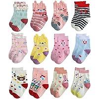 Deluxe Anti Slip Non Skid Crew Dress Socks With Grips For Baby Toddler Kids Little Girls (12-24 Months, 12 designs/RG-72627)