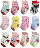 RATIVE RG-82021 Non Skid Cotton Crew Socks With Grips For Baby Toddler Girls (12-24 Months, 12 designs/RG-72627)