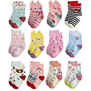 Deluxe Anti Slip Non Skid Crew Dress Socks With Grips For Baby Toddler Kids Little Girls (12-24 Months, 12 designs/RG-72627)