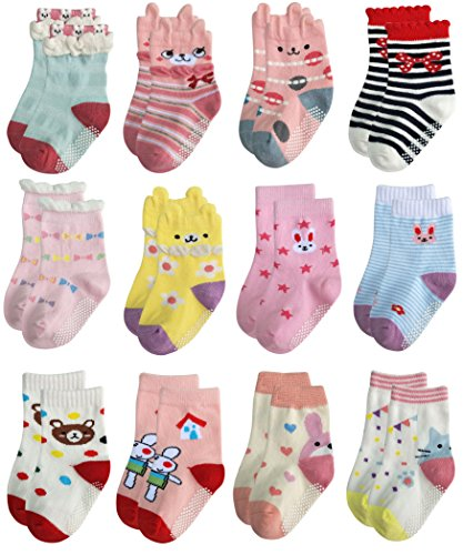 Deluxe Anti Slip Non Skid Crew Socks With Grips For Baby Toddler Kids Girls (3-5 Years, 12-pairs/assorted 3)