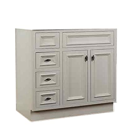 Superbe JSI Danbury White Bathroom Vanity Base 36u0026quot; Solid Wood Frame 2 Doors 3  LH Drawers