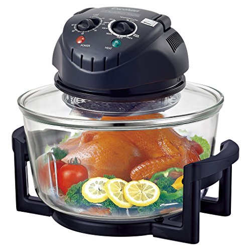 Excelvan 12 Quart 1200W Halogen Tabletop Countertop Convection Cooking Toaster Oven,Matt Black (The Sharper Image Super Wave Halogen Oven)