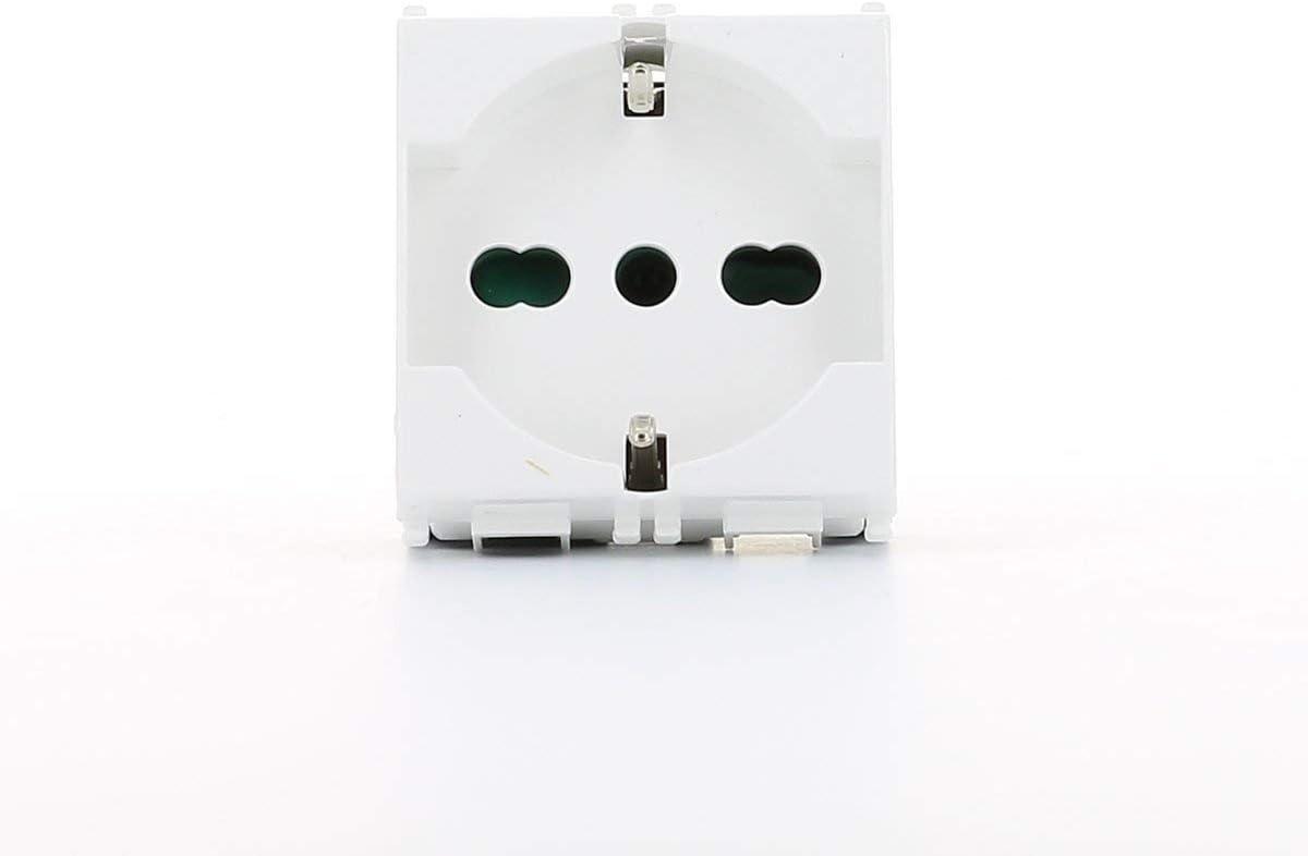 takestop/® Presa SHUKO Universale Interruttore 16A 250V LK40206 BIVALENTE Bianca Universale Corrente Materiale Elettrico 16A 250V
