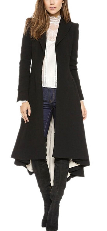 Amazon.com: Women's Black Dovetail Long Slim Fit Lapel Woolen ...
