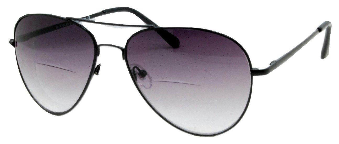 In Style Eyes C.Moore Aviator Bifocal Sunglasses Pewter 3.75 Strength