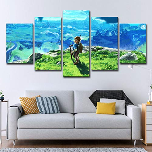JSIHENA 5 Panels Modern Canvas Prints Legend of Zelda Anime Cartoon Character Pop Wall Art Decor for Bedroom Home Decorations - Frameless,12182+12242+12301inch