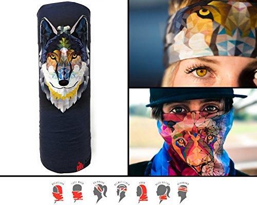 Lone Wolf Mask (UV Face Mask by Spirit Animal, Neck Gaiter, Magic Scarf, Helmet liner, Fishing sun mask, Multi-use face mask, Sports Bacalava (LONE WOLF))