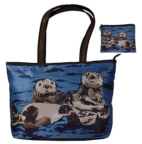Tigers Zipper Top Handbag (Sea Otters Gift Set Shoulder Bag and Coin Purse- Support Wildlife Conservation - Read How - From My Original Painting, Best Friends)