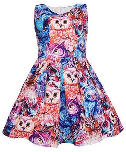Coralup Toddler Girls Owl Sleeveless Dress(Bright Colours,6-7 Years)