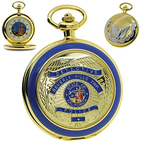 Police Badge 14K Gold Pocket Watch Big Size 53 MM US California Police Badge Cover with Fob Chain and Gift Box - Quartz Pocket 14k Watch