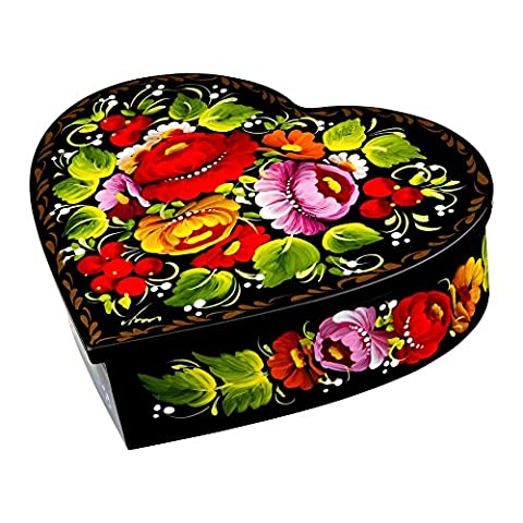 Ethnic Floral Heart-Shaped Wooden Jewelry Box Hand-Painted in Ukraine Case for Earrings, Necklace, Rings (Red and - Hand Painted Wooden Box
