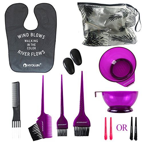 Bowl Quick Clip (HYOUJIN 11Pcs Purple Hair coloring kit Dye Kit Brushes & Bowl & Hair Clips inculed ear cover+ free lifting comb)