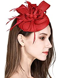 Fascinator Feather Fascinators for Women Pillbox Hat for Wedding Party  Derby Royal Banquet 58087a36bc1