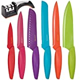 Stainless Steel Kitchen Knife Set – 13 Piece - BONUS Sharpener - 6 Knives - Chef, Bread, Carving, Paring, Utility and Santoku Knife - Cutlery Sets - Multicolor by Lucentee