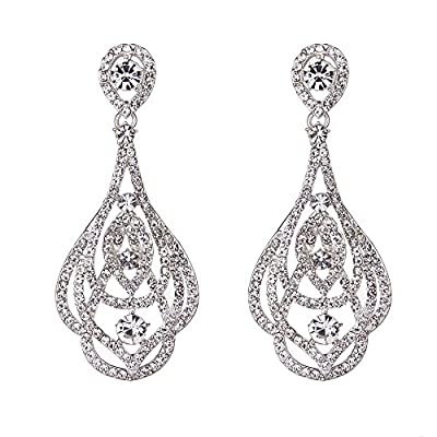 Youfir Austrian Crystal Wedding Statement Necklace and Earring Set for Brides Party Dress