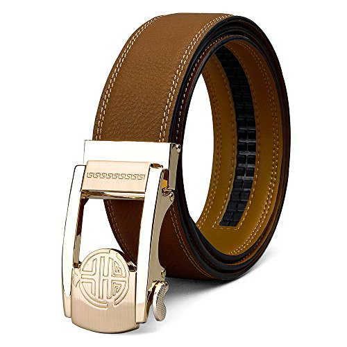 XIANGUO Fashion Genuine Top-grain Leather Automatic Buckle Belt