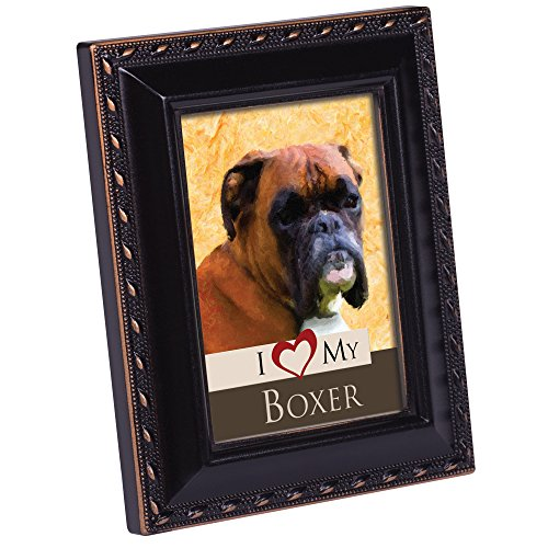 Cottage Garden I Love My Boxer 2x3 Photo Black with Gold Trim Frame Easel Magnet ()
