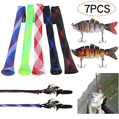 "Angela&Alex 7 PCS Fishing Rod Covers + Lures, Tackle Kits Lifelike for Bass 3.9"" Rod Sleeves Sock Braided Mesh Protectors Pole Gloves Tools for Casting Sea(5 Fishing Rod Covers + 2 Fishing Lures)"