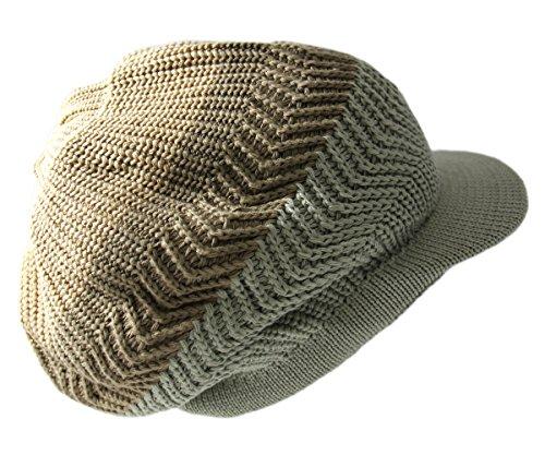 RW Knitted Cotton Rasta Slouchy Beanie Visor (Khaki/D.Khaki/SAGE)