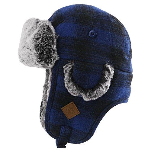 (Mens Womens Plaid Faux Fur Hunting Bomber Trapper Flaps Winter Cap Ushanka Russian Hat Navy )